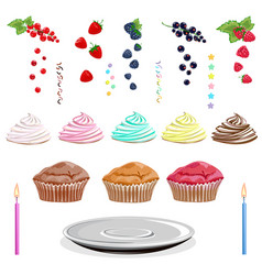 cake with cream berries sugar candy vector image