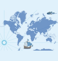 contour map with ship and monster vector image
