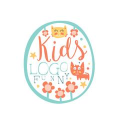 funny kids logo original design baby shop label vector image