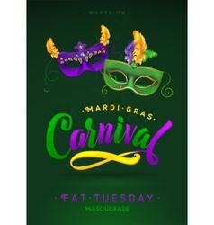 Mardi Gras Carnival Calligraphy Invitation Poster vector image