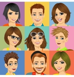 nine diverse young people face portraits vector image