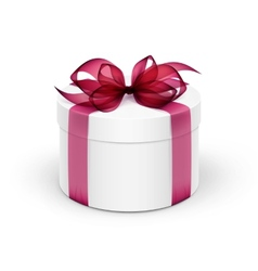 White Round Gift Box with Burgundy Red Ribbon and vector image