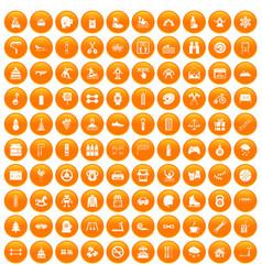 100 children activities icons set orange vector