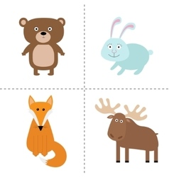 Forest animal set Bear hare fox moose Kids vector image vector image