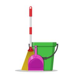 plastic bucket dustpan and broom vector image vector image