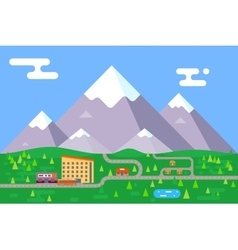 Spring summer mountain village hotel resort vector image vector image