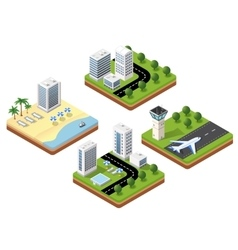 3D isometric icons travels with vector image
