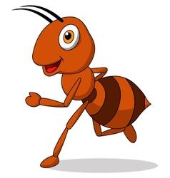 Cute ant cartoon running vector image