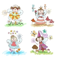 Little fairy children drawings vector image vector image
