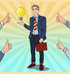 pop art businessman with creative idea light bulb vector image vector image