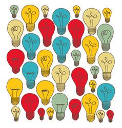 Silhouette of set light bulbs multicolor vector