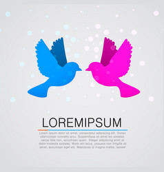 two flat paper birds kissing vector image