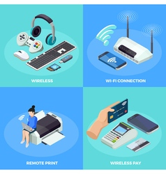 Wireless Technology 4 isometric Icons Square vector image