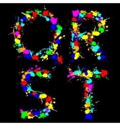 Alphabet color drop qrst vector image