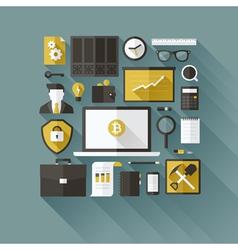 Bitcoin essentials Modern flat design elements vector image