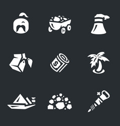 set of coal icons vector image vector image