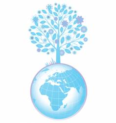 tree and globe vector image vector image