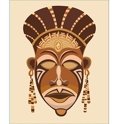 Abstract brown mask face African women vector