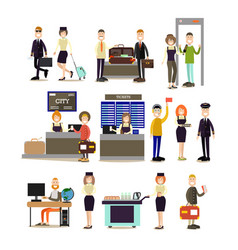 airport people flat icon set vector image