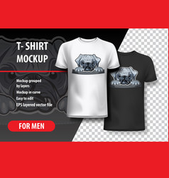 Angry pug in pocket t-shirt template graphics vector