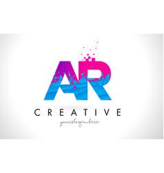 ar a r letter logo with shattered broken blue vector image