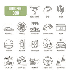 Autosport icons set of pictogram vector