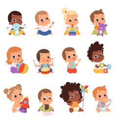 baby characters new born kids playing toys happy vector image