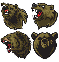 bear logo set premium collection vector image