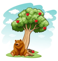 Bear under the tree vector