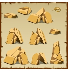 Beige rock of different shapes 10 icons vector image