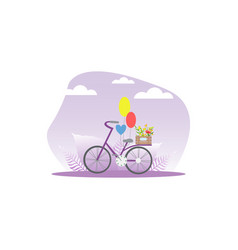 bicycle with wooden crate flowers and balloons vector image