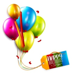 Birthday card with balloons confetti and tag vector