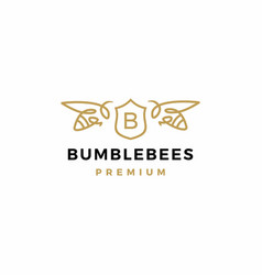 bumble bee coat arms logo icon vector image