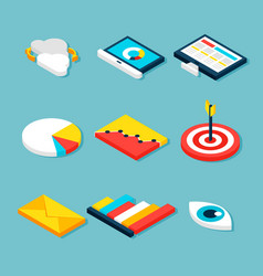Business analytics isometric objects vector