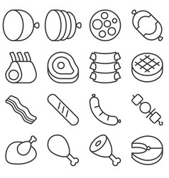 butchery products line icon set vector image