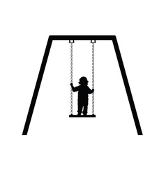 child on swing in black vector image
