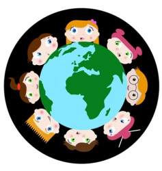 children and earth vector image