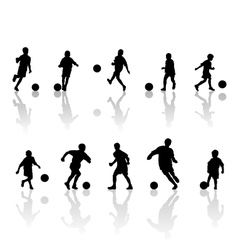 children football silhouettes vector image