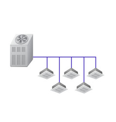 Chiller with ceiling cassette indoor units vector