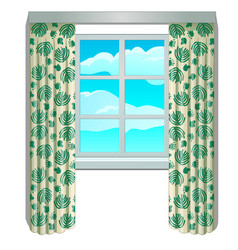 Classic window and view of sky and clouds vector