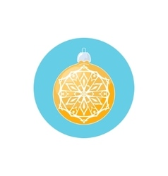 Colorful Icon Yellow Ball with Snowflake vector image