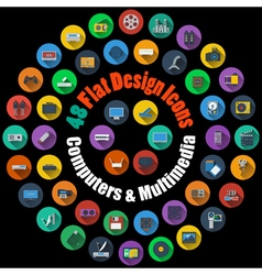 Computer and Multimedia Icons vector image