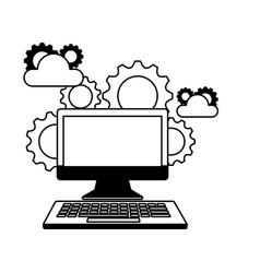 computer device cloud storage gears vector image