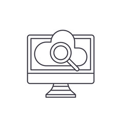 computer online search line icon concept computer vector image