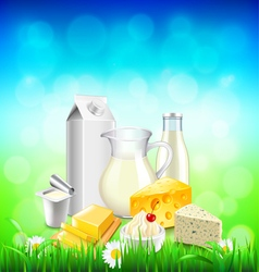 Dairy products on green grass blue sky background vector