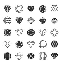 Diamond line icons set vector