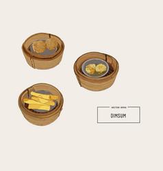Dim sum of chinese cuisine vector