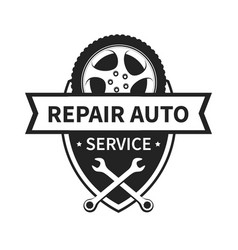 Emblem for repair car and tire service vector