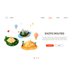 exotic routes - modern colorful isometric web vector image