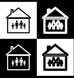 family sign black and white vector image